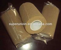 Skin color cohesive bandage with strong glue