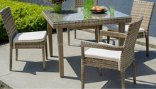 Umbrella hole designed outdoor garden bar furniture rattan corner dining table and chair sets