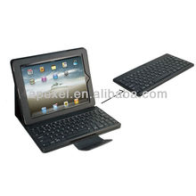 bluetooth plastic keyboard for iPad with folding PU leather case BK-17