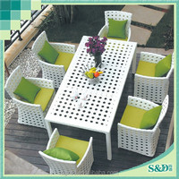 S.D Durable Dining Furniture for 6 People Nice White Outdoor Dining set