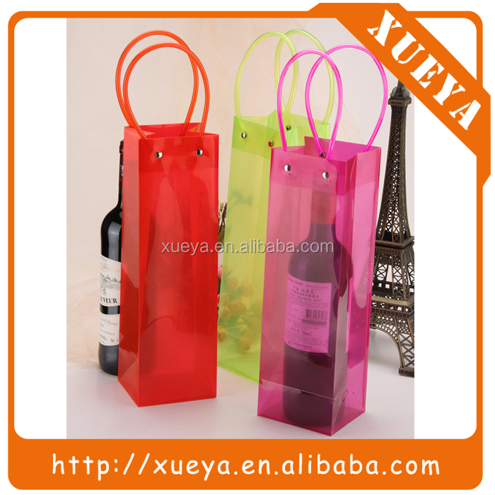 colorful durable Plastic PVC wine bottle packaging tote bags
