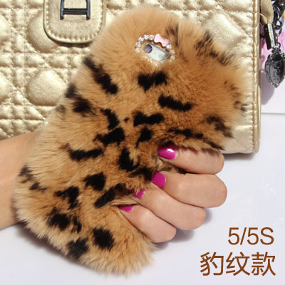 New 7 colors wholesale Cozy real furwholesale rabbit fur phone case for IPhone 5s 4s 6 for girl