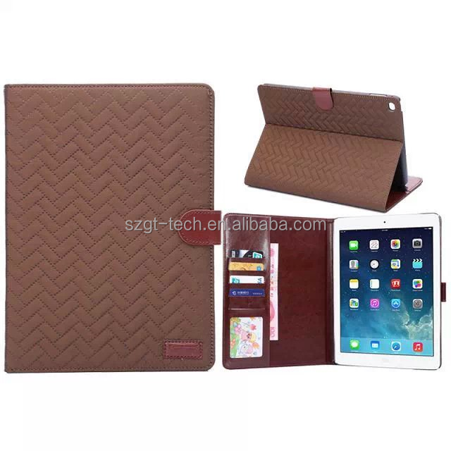 Slim Weaving Gird Grain Wallet Leather Tablet Accessories Case For iPad Air 2 With Card Slot