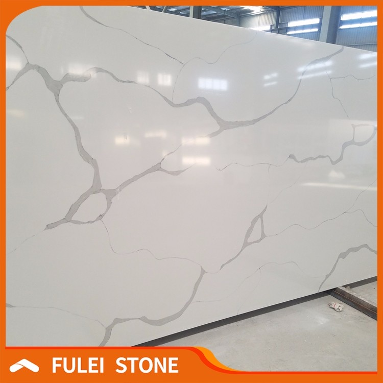 Best quality artificial calacatta white veins grey quartz stone price