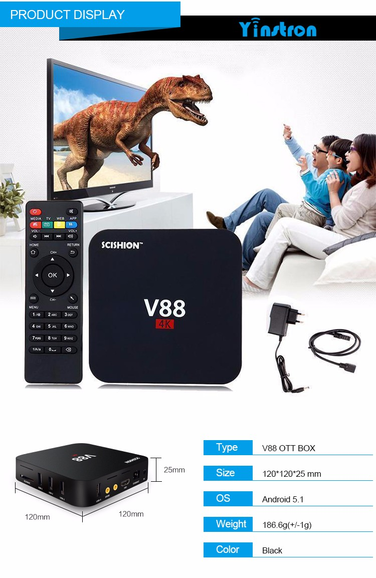 Termurah RK3229 V88 4 K Android 6.0 Pintar TV Box Rockchip 1G/8G WiFi Penuh Dimuat Kodi 16.1 V88 SCISHION TV Box