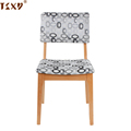 Cheap pattern wooden fabric seat stackable wood restaurant chair