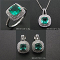 Set Jewelry Silver Spinel Green Color Sales Design For Wedding DR01707172S-SQ-G