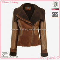 2015 fashion polyester water proof long sleeves quilting YKK zipper fake fur textile cheap winter jackets