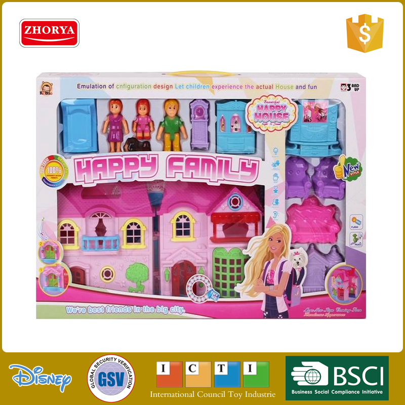 Zhorya fashionable deluxe home luxurious villa with doll figures music and light house with furniture