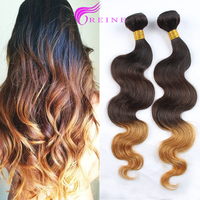 REINE Hair Products Three Tones Ombre Hair Weave T1B/4/27 Color Body Wave Brazilian Human Hair Weft