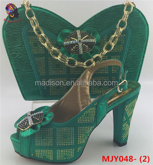Gzmadison 2017 new style leather women dress green shoes african ladies matching shoes and bags with stones/MJY048-2