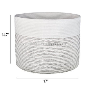 Wholesale 100% Handmade Nature Color Cotton Rope Woven Large Storage Basket With Slit Handles