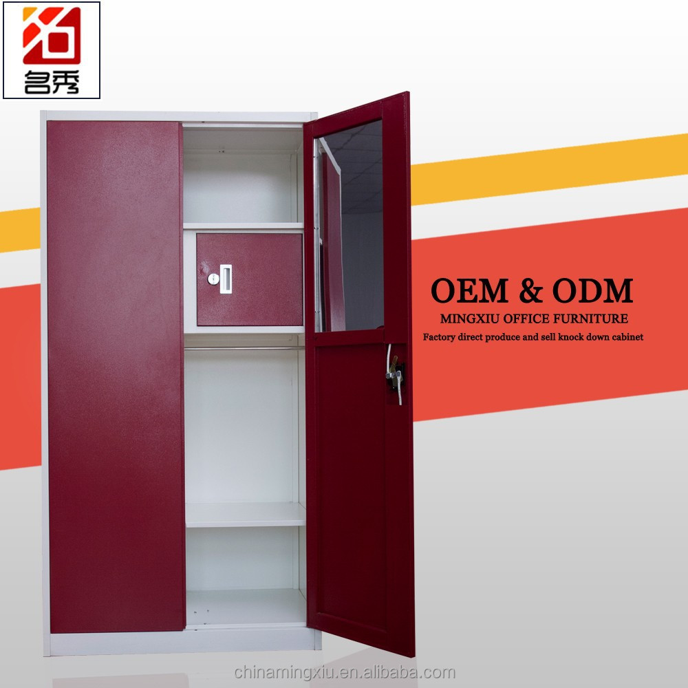 Factory price fire proof wardrobe cabinet used 2 door red cabinet with safe box