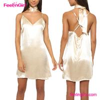 2016 Deep V Neck Harness Golden Casual Cutting Silk Dress For Women