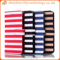 Classic strap wallet card slot pu leather case for iphone 6, flip leather case for iphone 6