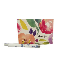 custom floral thank you note cards pack with envelope and plastic packaging box and adhesive sticker wholesale
