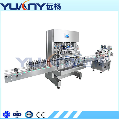 Automatic linear piston filling machine for hand cleaning liquid soap buy from China-HY1000 liquid and paste filling machine