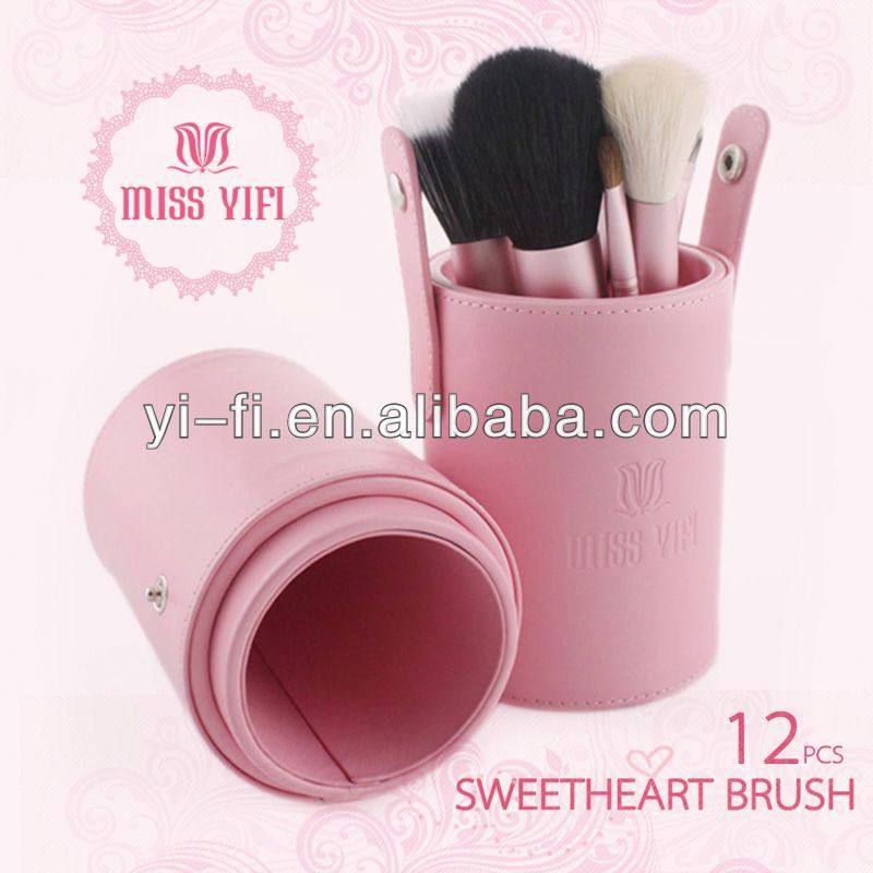 Miss Yifi Pink Canister 12pcs Makeup Brush Mini Cosmetic Brushes private label cosmetics makeup