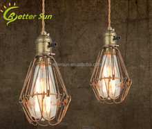 Vintage Copper Wire Cages Industrial Pendant Light for Bar