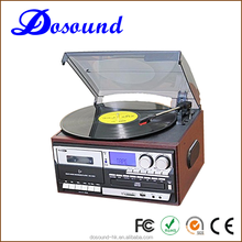 Retro luxury vinyl bluetooth turntable cd record player with usb connection