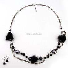 Black Beads Pendant Crystal Bib Chain Jewelry Collar Choker Necklace GN12289