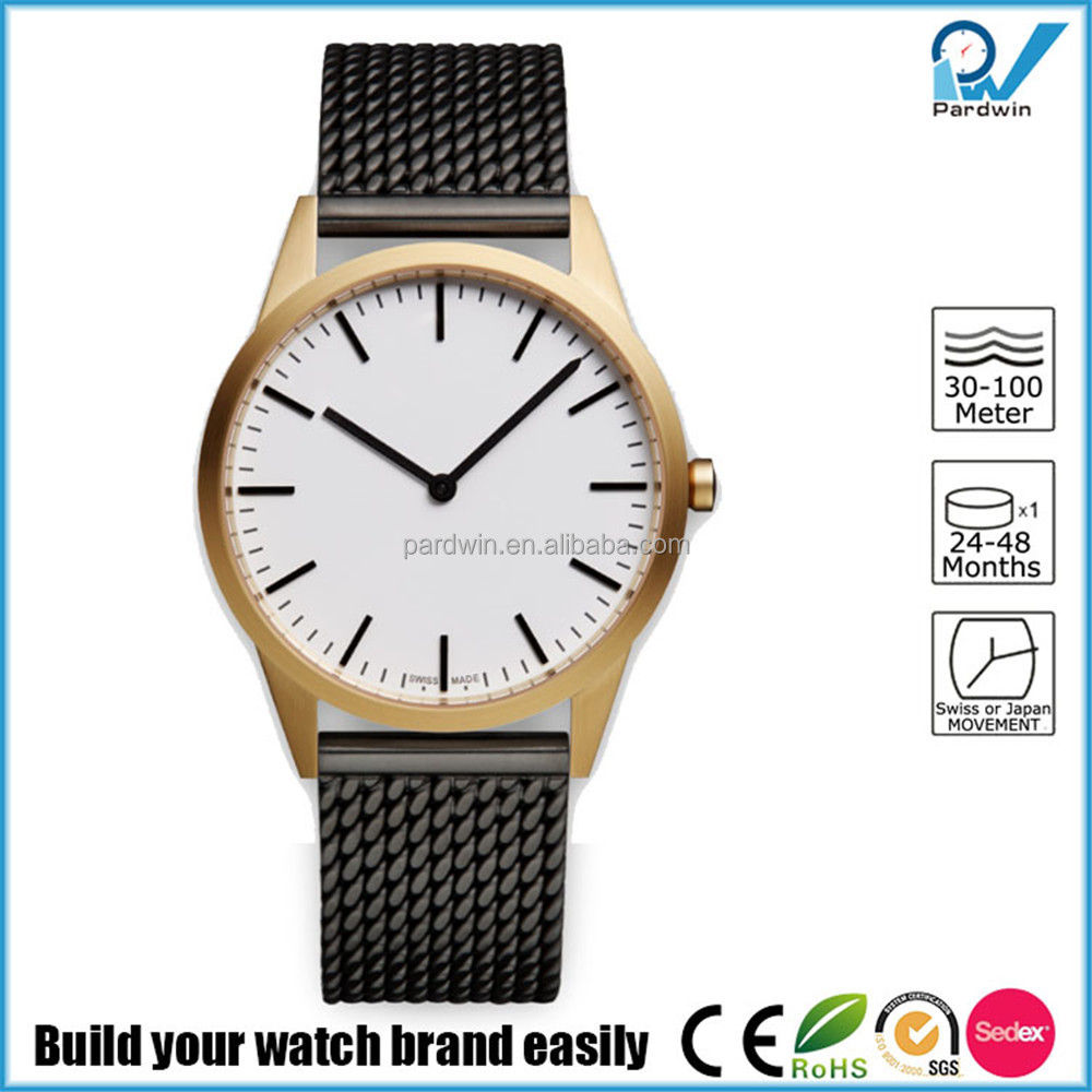 PVD satin gold case coating stainless steel or leather strap 5ATM water resistant unisex stainless steel fashion watch
