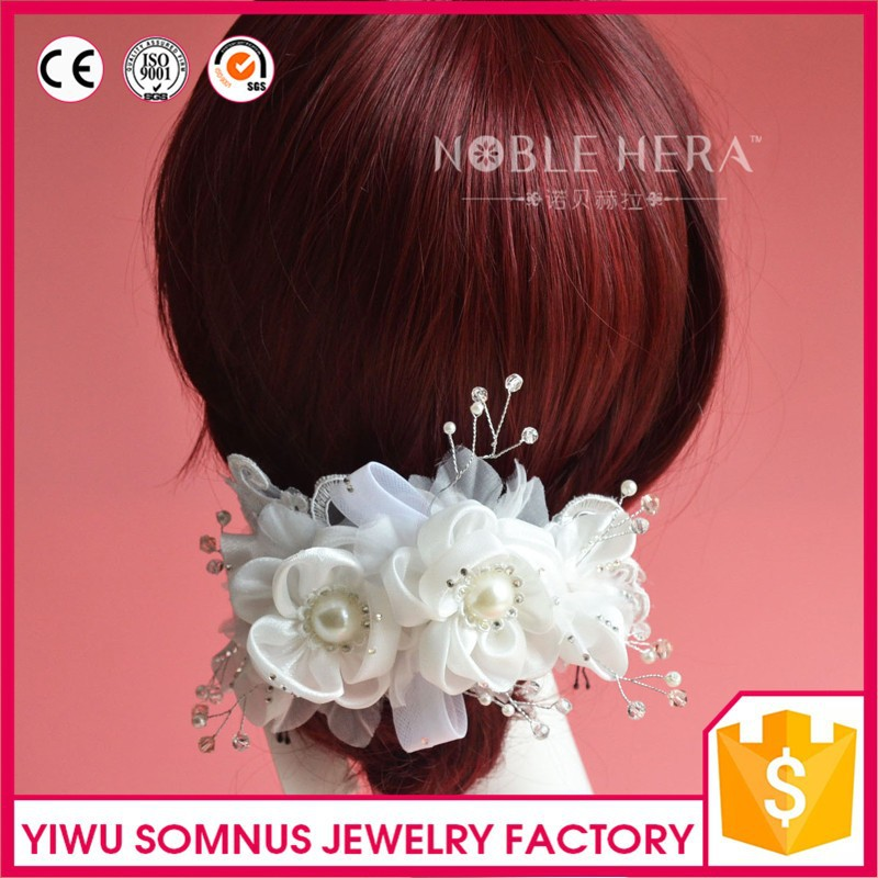 Factory direct sale rhinestone bridal <strong>hair</strong> <strong>accessories</strong> elegant silk flower beaded