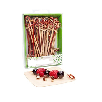 Colored cocktail decorative bamboo knotted skewers sticks