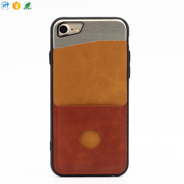 New arrival leather cell phone case for iphone 6s plus high quality soft black leather mobile cover for men