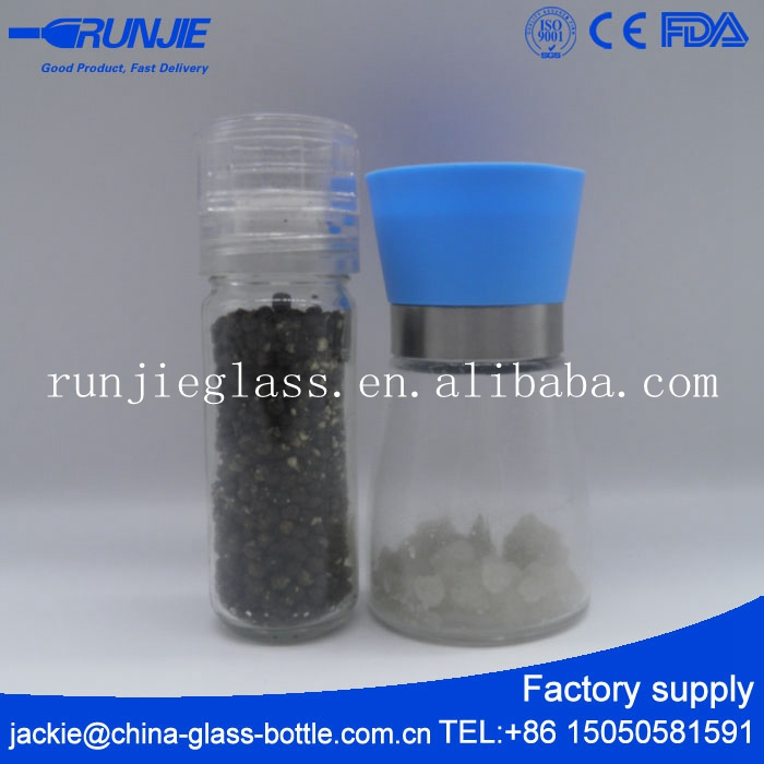 RJ Ce Certified Packaging Mini Stainless Steel Dairy Glass Bottle Old Food Pepper Grinder Cosmetic Favors Factory Spigot