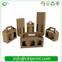 Blank corrugated cardboard packaging olive/wine box for 3 bottles wine