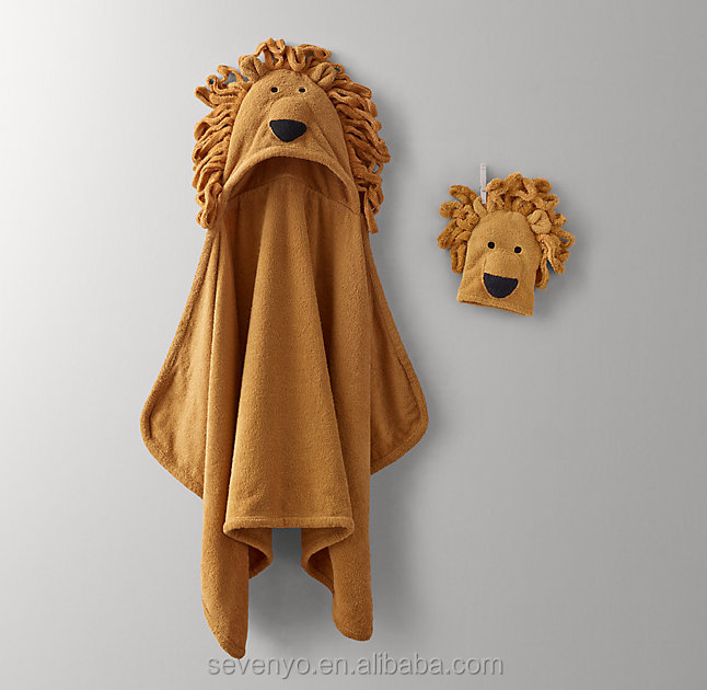 100% bamboo ideal for newborn and toddler keep your baby warm baby hooded towel--lion