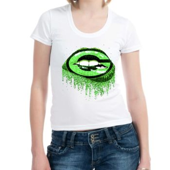 Hot Sale Custom Green Bay Lips Shirts Iron on Vinyl Printing Transfer