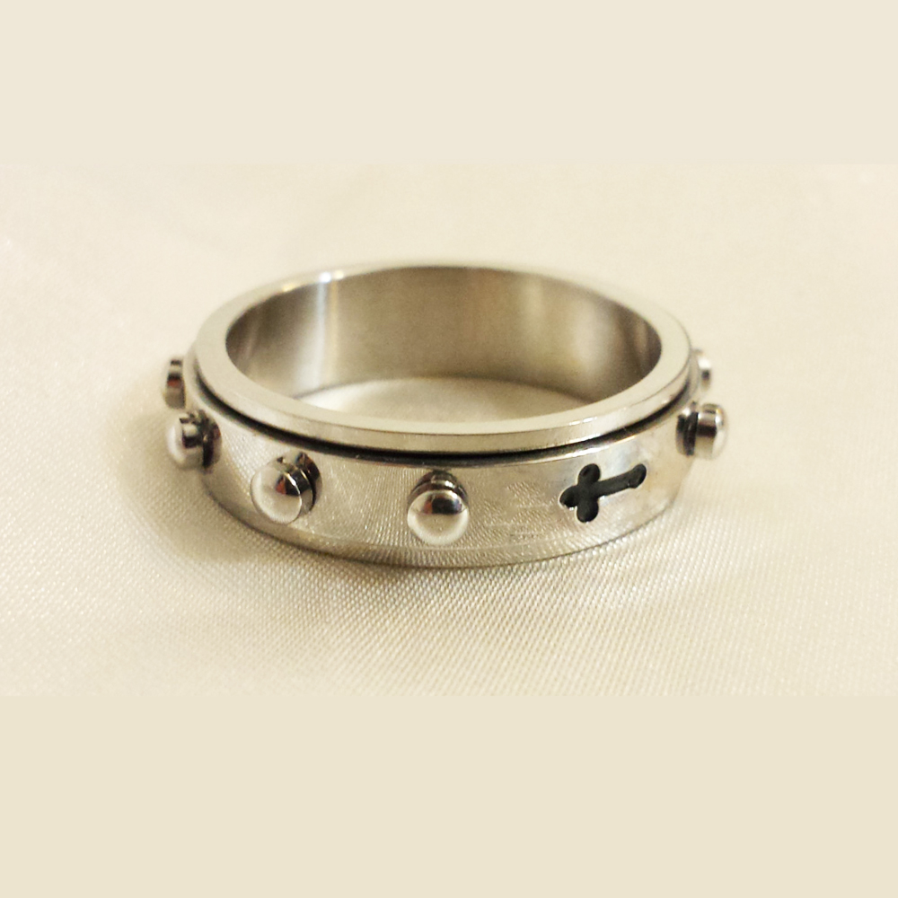 Jewelry fashion men's stainless steel spinner rings catholic rosary rings