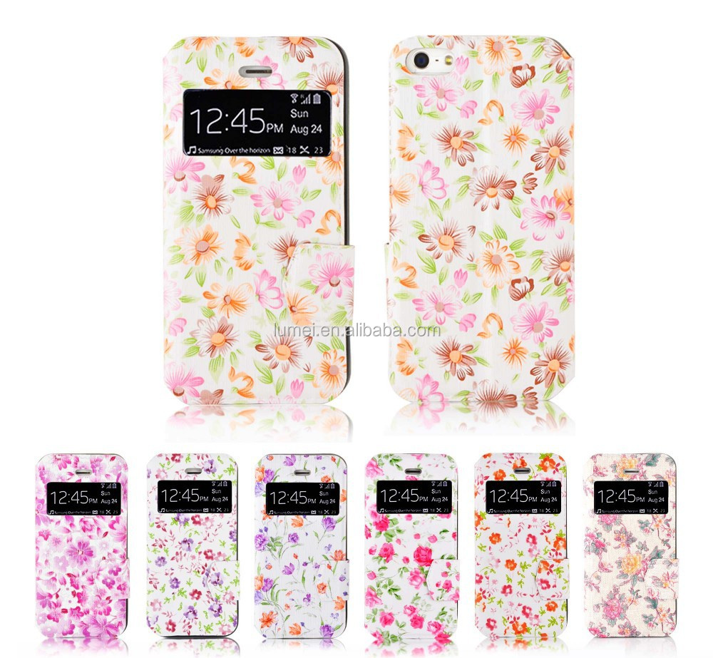 Printing Colorful Flower PU Leather Stand Case For IPhone 5