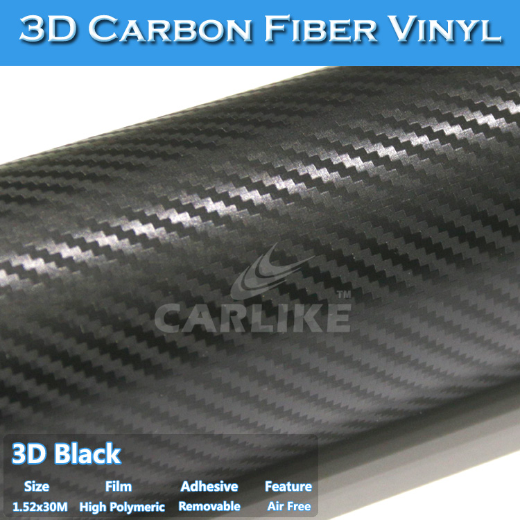 1.52x30M 5x98FT UV Protection Big Textured 3D Carbon Fiber Vinyl Custom Car Sticker
