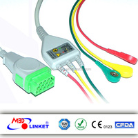 Compatible GE Marquette One-piece ECG Cable 3 Leads Snap IEC Standard with CE and FDA approved