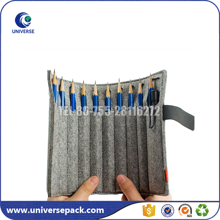 Customized roll up brush cosmetic bag with elasticband
