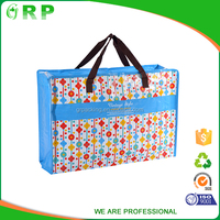 Custom flower picture printed eco lamination zipper pp woven bag china