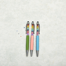 Popular fashion design colorful crystal with stylus metal pen for promotion