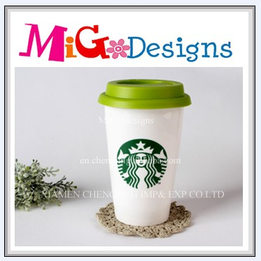 Decorative Factory Manufacture Art Craft OEM Design Starbucks Porcelain Coffee Cup With Lid