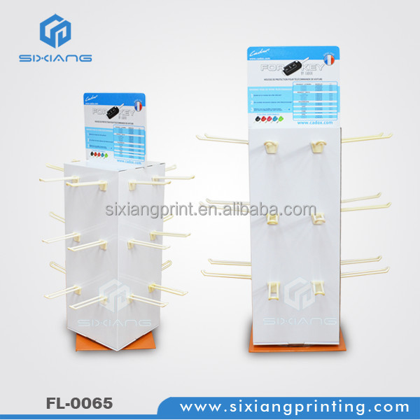 Rotating cardboard display racks for hanging hats shops display stands