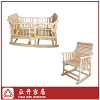 Wooden Assembled Baby Crib&Rocking Chair 2 in 1 Furniture