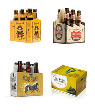 Custom Deisgn 3/4/6 Pack Beer Bottle Paper Carrier Box With Your Logo