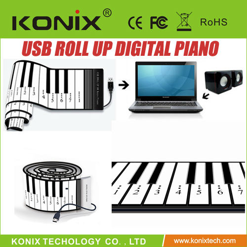 61 Keys USB Rubberized Flexible Roll up Roll-up Electronic Piano Keyboard/MIDI Soft Keyboard Piano