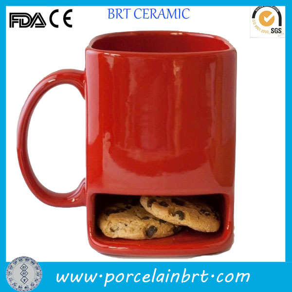 Red color ceramic cookie pocket mug