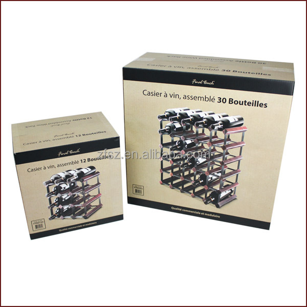 corrugated paper box package for display wine rack