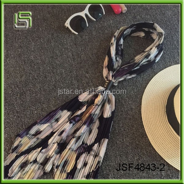 The new crimping vintage scarves printed scarves female Korean decoration scarves
