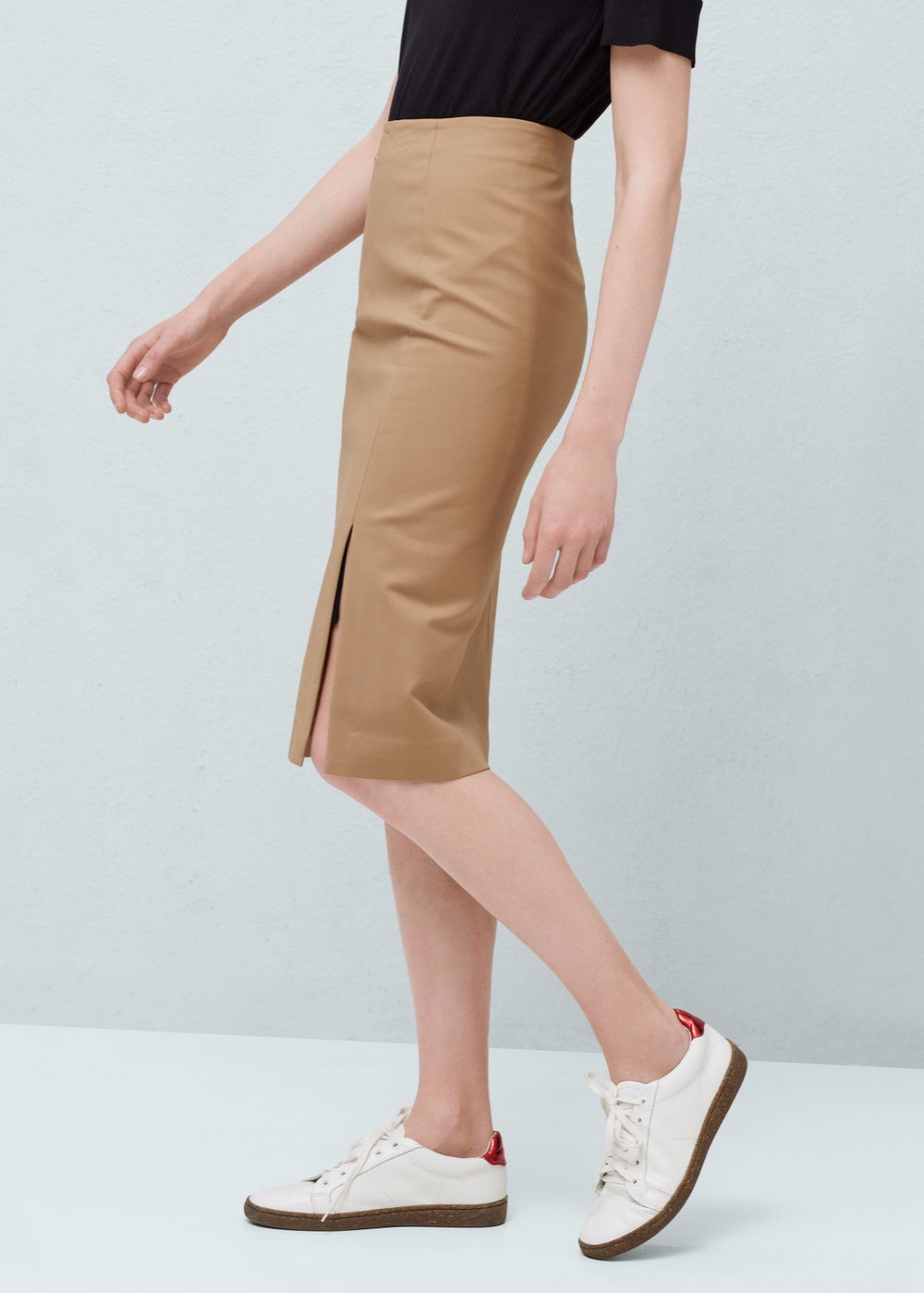 2018 summer casual slim plain cotton elastic waist short skirt