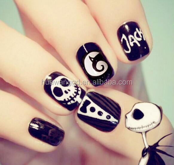 Personality Short style black and white skulls false nails